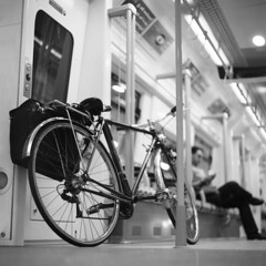 On the train (ted.kozak) Tags: 6x6 film bicycle night mediumformat bag square lights series selfdeveloped 100iso kozak fujineopanacros kiev80 vega12b90mmf28 ilfosol3 tedkozak