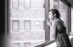 - (alexis mire) Tags: blackandwhite selfportrait film window girl analog 35mm buildings tmax100 yaknow alexismire