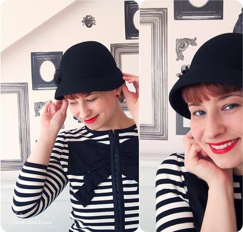 lata 40, kapelusz, kapelusik, wełniany, żakiet, sweter, paski, kokarda, H&M, kolczyki, różyczki, Bibelot
