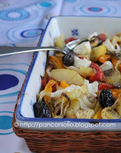 teglia di peperoni e patate con olive