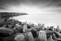 The Concrete Beach in black and white (Semi-detached) Tags: sky bw white black station concrete coast long exposure power nuclear shore 09 lee nd dunbar grad lothians waterscape torness nd1000