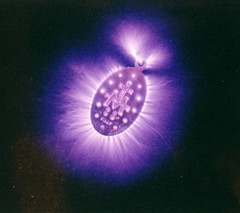 Kirlian photo of a locket (helenoftheways) Tags: energy purple metaphysics auras kirlianphotography