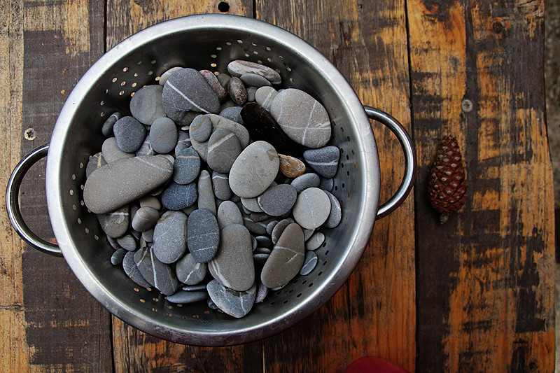 washing pebbles