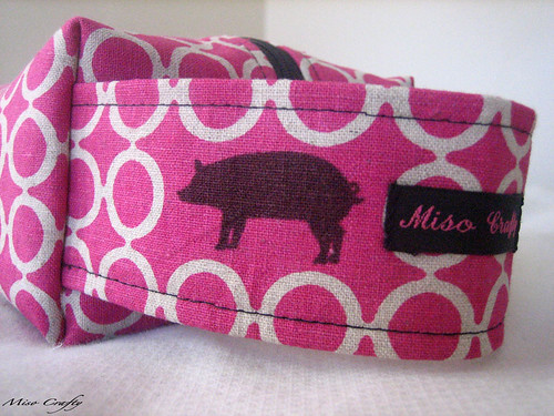 Pink Echino Pigs Project Bag - Handle
