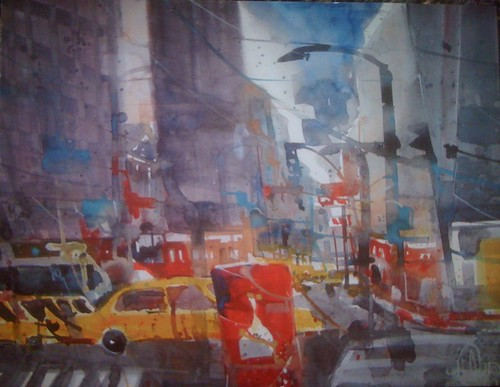 9th Avenue - Aquarell von Andreas Mattern