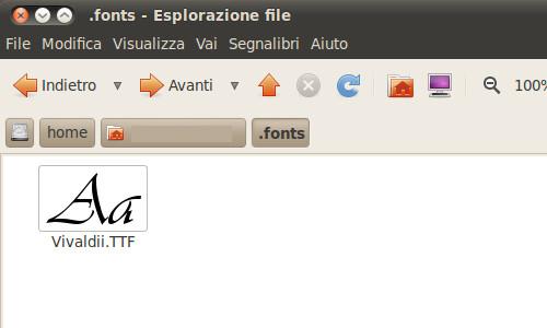 Figura 7 - Cartella .font nella home dell'utente.