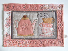 """TeaTeaTea"" Mug Rug (PatchworkPottery) Tags: quilt handmade sewing crafts mini mug quilted rug patchwork coaster applique potholder"