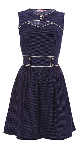060 - Party Peephole Dress - Navy Polka