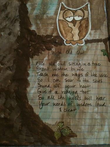 Closeup of owl & poem