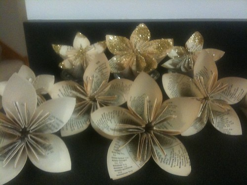 Origami book flowers