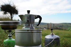 Getting some coffee on! (dark_dave25) Tags: uk camping england holiday laura coffee dave outdoors gourmet stove whitby moka trangia
