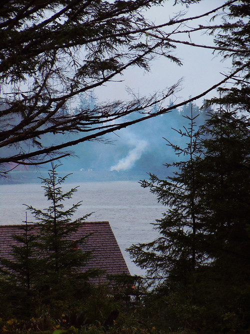 smoke from burning debris, Kasaan, Alaska