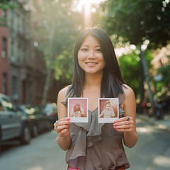 a girl and her polas (cindyloughridge) Tags: nyc 6x6 film mediumformat alice westvillage 2010 hasselblad500cm kodakportra400nc thecheshiresmile