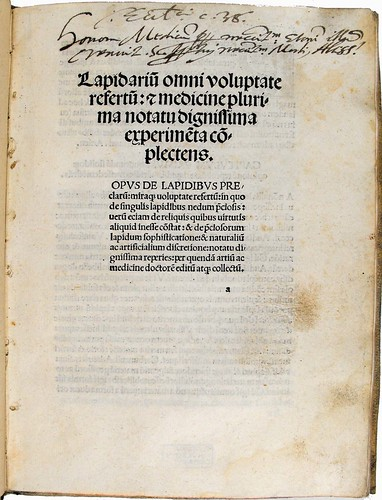 Title page with annotation from 'Lapidarium omni voluptate...'. Sp Coll Ferguson Ak-a.27.