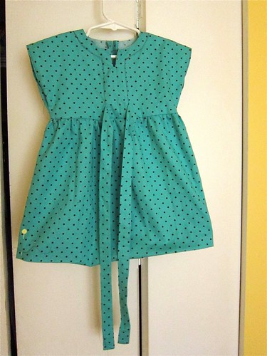 Turquoise baby dresses in progress (Simplicity 3765)