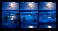 Moonlight... feels right! (Rex Maximilian) Tags: ocean sea hawaii sand surf triptych waves locals pacific oahu teens moonrise shore hawaiikai halonablowhole bodysurfing kaiwi halonabeachcove