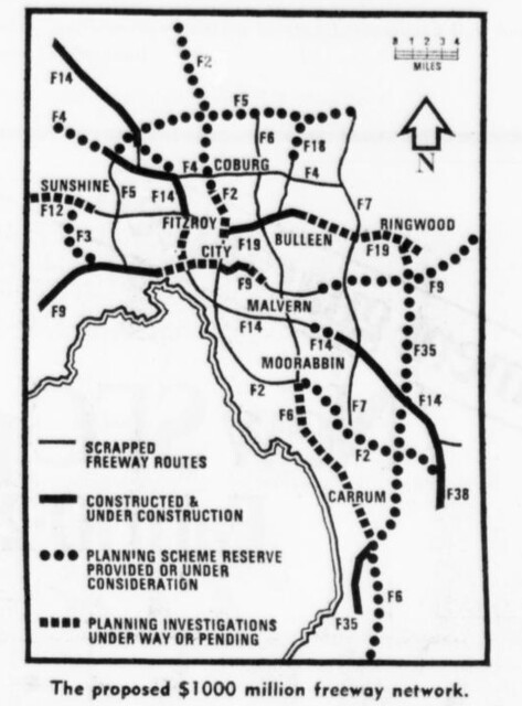 1974: Proposed Melbourne freeways