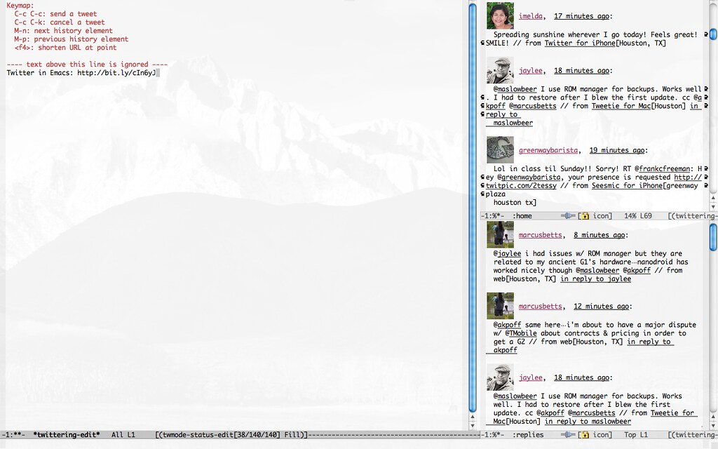Twittering Mode in Emacs