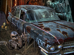 Death In The City .... (Rat Rod Studios) Tags: halloween skulls skeleton death witch pumpkins hearse elvira hallowseve