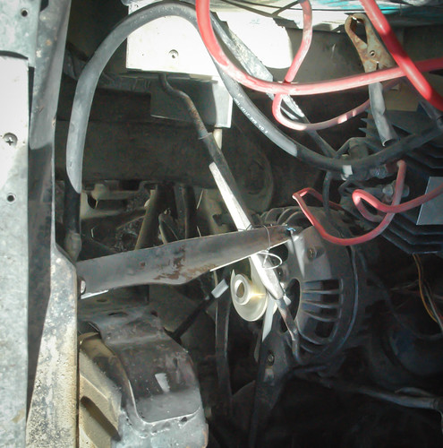 Alternator won't fit? A little bailing wire and the right tent stake can fix that