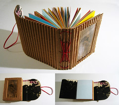 Corrugated Cardboard Flap Book (holytoledo3) Tags: red thread paper photography photo recycled handmade unique originalartwork cardboard photocopy recycle letterpress printed stitched binding corrugated hemp elastic linedpaper corrugatedcardboard tracingpaper bookbinder whitepaper handbound brownpaperbags redpaper printedpaper redthread yellowpaper bluepaper originalphotography bookboard hempthread bookbindingthread lightbluepaper longstitchbind naturalthread junkmailenvelopes letterpresses redelastic