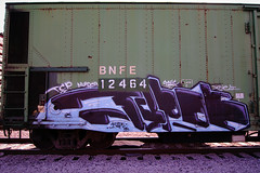 TYPOE (TRUE 2 DEATH) Tags: railroad train graffiti tag graf traintracks rusty trains bn railcar rusted weathered spraypaint boxcar railways railfan freight bnsf reefer graffitiart freighttrain rollingstock wfe typoe scrapped westernfruitexpress benching bnfe bnfe12464