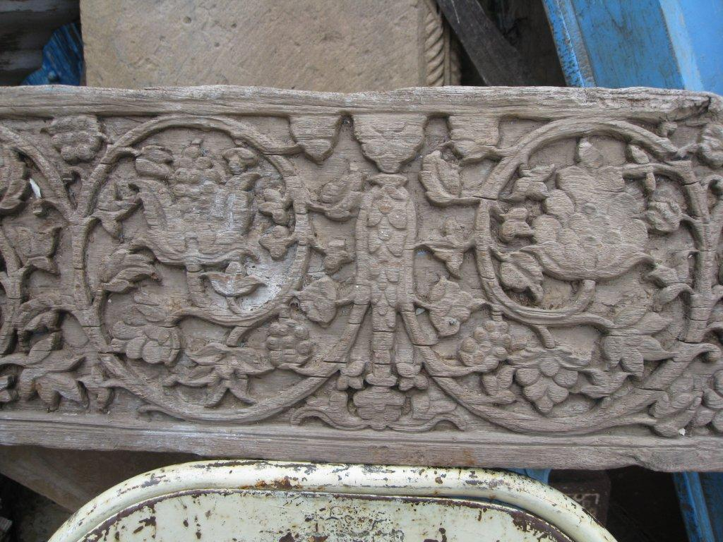 Very old Indian hand-carved teak panel