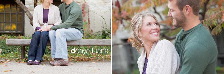 Loving, young couple embrace for portraits in southern Minnesota
