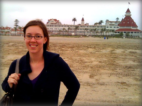 On the beach, Hotel del Coronado in the background