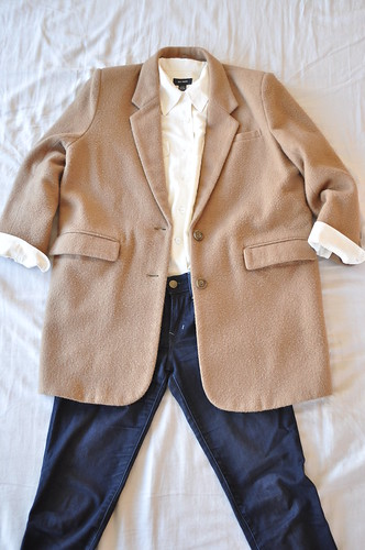 vintage long camel blazer coat