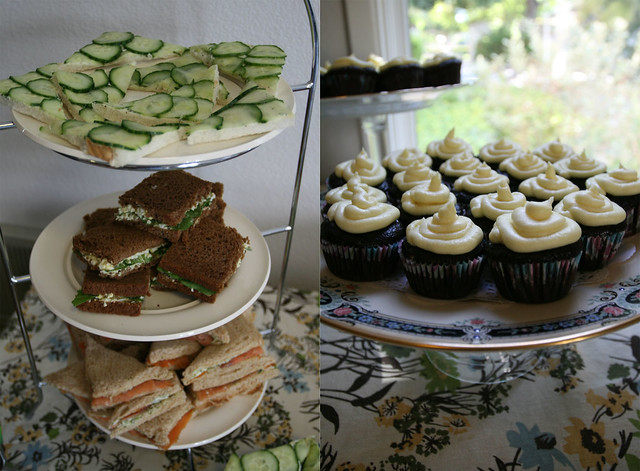tea sandwiches and mini cupcakes