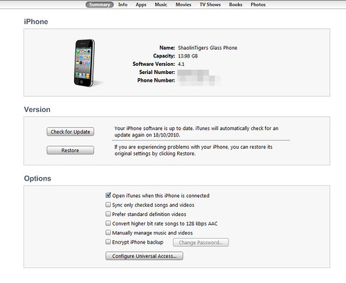 iPhone 4 - iTunes Sync