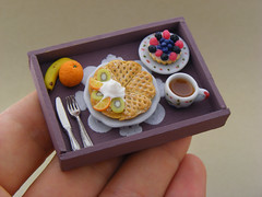 Continental Breakfast Tray (Shay Aaron) Tags: autumn winter food orange house scale kitchen coffee fruit miniature doll berries tea handmade aaron fake mini banana polymerclay fimo tiny faux shay tart 12th 112 belgianwaffle dollhouse petit breakfastinbed twelfth tartlet sugarpowder shayaaron