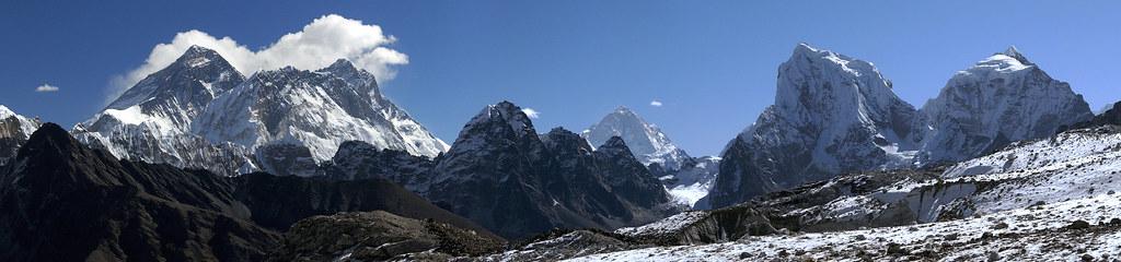 Everest, Makalu,Cholatse panorama from Renjo pass