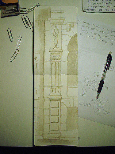 Una acuarela en clase de revit, el dibujo de una cabaña, el insecto-palo,... o porque no todo puede ser sólo ARQUITECTURA