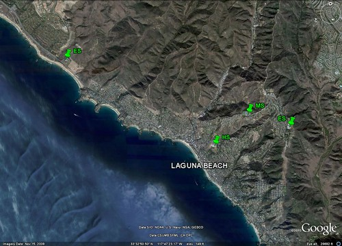 public schools in Laguna Beach (image via Google Earth, markings by me)