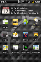 Homescreen Android 2.1 LG GT540 OPTIMUS