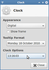 Configure clock to show seconds