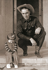 Vernon Jones and Miss Jones. (newmexico51) Tags: man newmexico southwest girl smile shirt student route66 toddler cowboy child boots 1940s teenager nm cowboyhat homem forties hombre homme