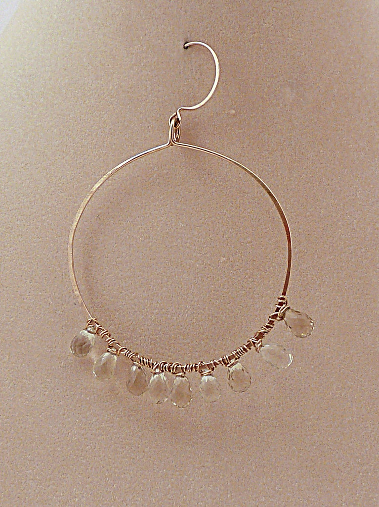 Large Gold Hammered Hoops w/  Sundrops