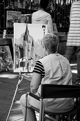 Artist in Jackson Square (vxla) Tags: travel vacation church nikon october louisiana artist neworleans frenchquarter painter jacksonsquare nikkor dslr 2010 bigeasy stlouiscathedral d90 vieuxcarr 18105mm vxla 2010s 18105f35