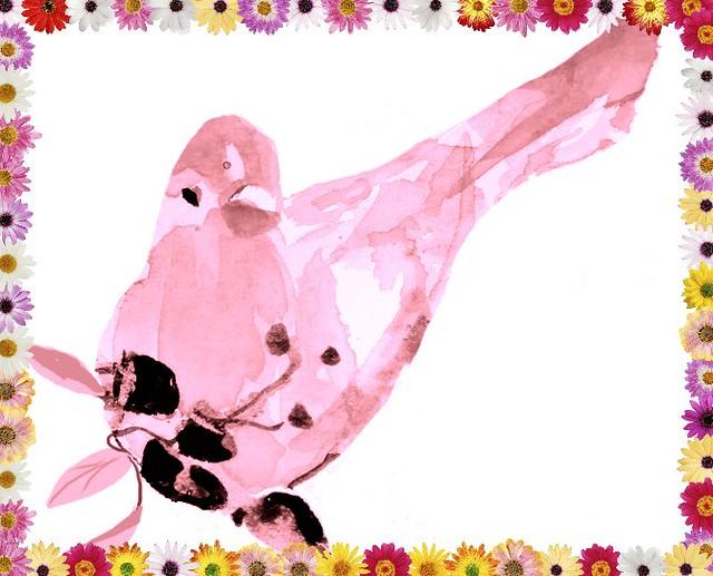 Watercolor bird yellow