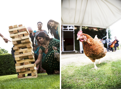 Giant jenga and the resident chicken (she joins in all the weddings!)