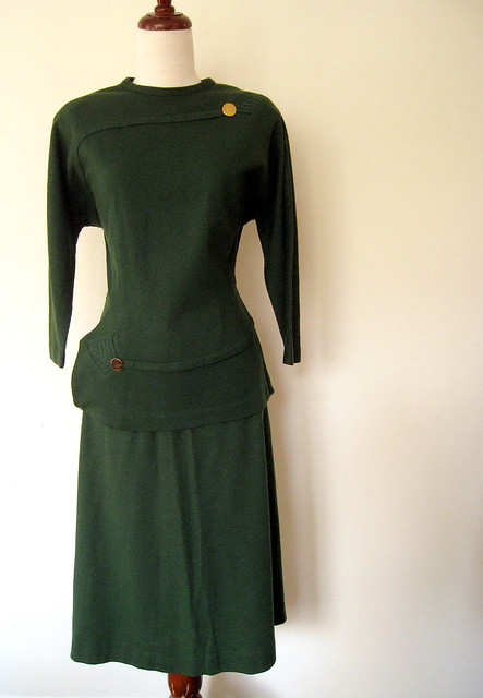 Evergreen Wool Skirt Set, Vintage 50's