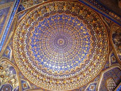 Ceiling of Tilla-Kari Medrassah (at the Registan) (magellano) Tags: architecture painting gold pattern ceiling architectural cupola dome decor samarkand madrassa registan architettura disegno volta oro madrassah samarqand madrasa soffitto vote medressa decoro architettonico samarcanda samarcande  tillakari trompeloeils sipinto