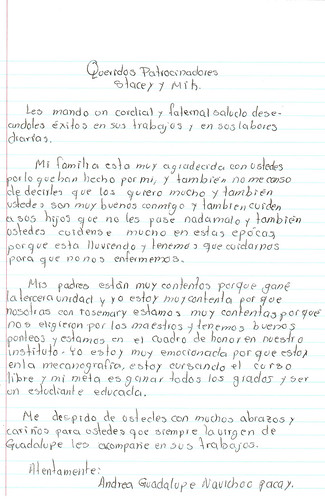 Andrea Guadalupe Letter