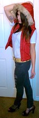 Nov. 14, 2010 OTD (RikkiEver) Tags: street original red girl look fashion vintage fur grey diy belt outfit remix style tshirt wear jeans thrift faux heels torn vest wardrobe tee inexpensive hanes kohls thrifted otd