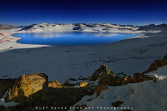 Blue Heart.. (M Atif Saeed) Tags: blue winter pakistan light mountain lake mountains reflection nature water landscape heart shade areas shape northern northernareas deosai skardu seosarlake seosar atifsaeed gettyimagespakistanq1