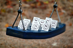 Smileys - 1 (Ben Heine) Tags: park autumn friends light brussels party wallpaper blur game macro art fall nature smile paper season prin
