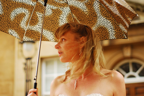 Rachel the bride, under the umbrella, Bristol,